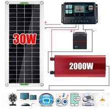 18V 30W GÜNEŞ PANELI 12V 220V güneş enerjisi sistemi pil şarj cihazı 2000W invertör USB kiti komple kontrol ev ızgara kamp telefonu