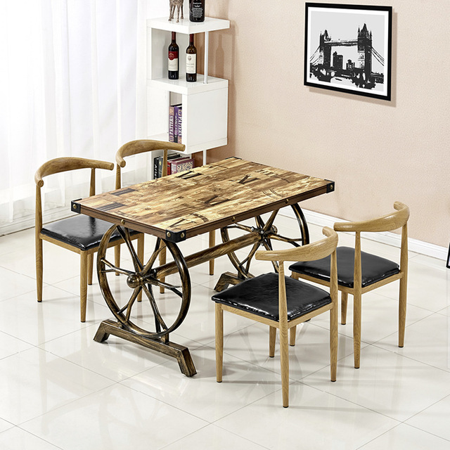 Iron imitation solid wood croissant chair fast food cafe milk tea dessert simple modern retro industrial style table and chair c