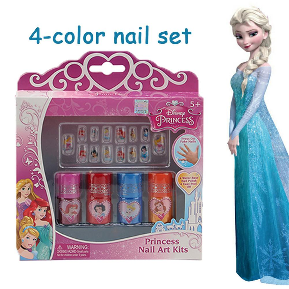 Disney 4 Color Frozen Nail Polish Set Paste Water Soluble Peelable Color Play House Manicure Toy Disney Makeup Toys For Girls
