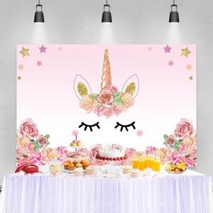 Unicorn Backdrops For Photography Happy Birthday Party Rainbow Flowers Customized Poster Child Baby Photo Background Photostudio