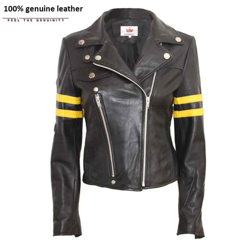 Women's Leather Jacket Brand Women Real Sheepskin Jackets Black Slim Female Genuine Leather Coat Biker Jacket M114