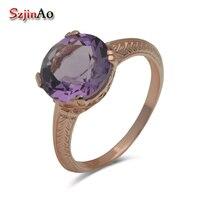 Authentic Exclusive Custom Design Exquisite Fashion Romantic Style Elegant Rose Gold Amethyst 925 Silver Rings