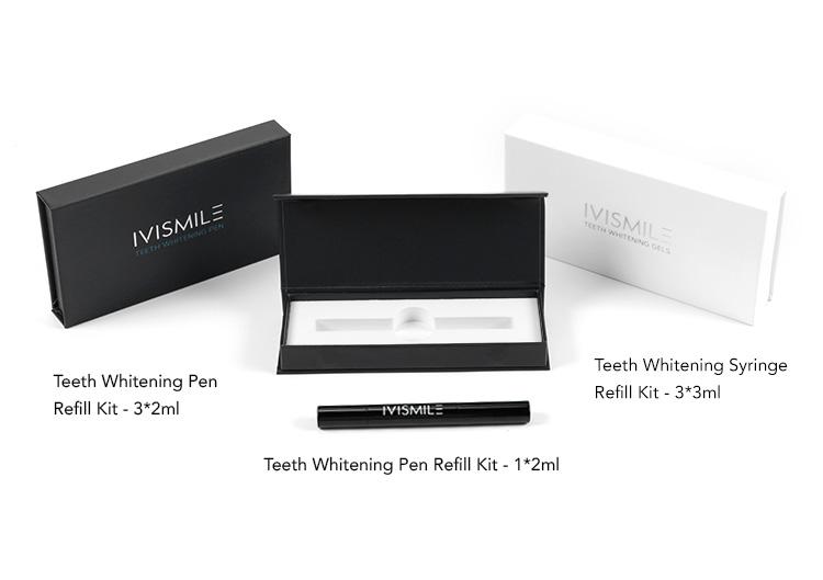 Private Label Luxury Gift Box Packing 3 pcs 2ml Black Teeth Whitening Refill Pen Kit