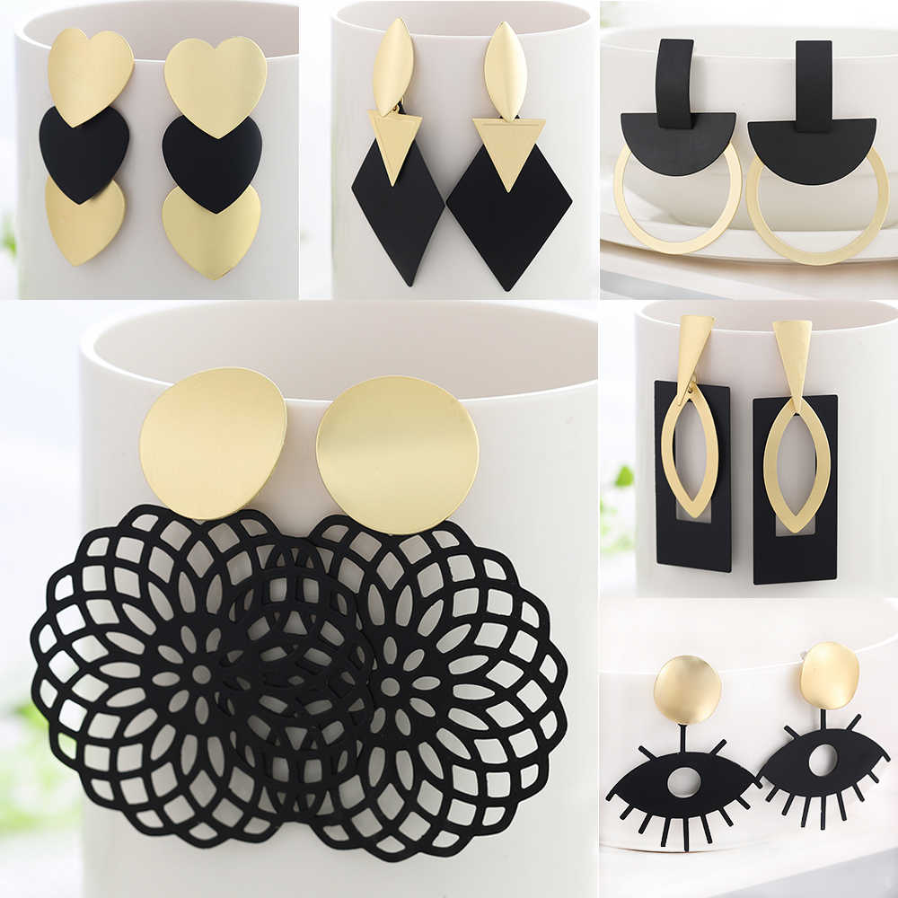 WYBU קיץ סגנון זהב זרוק עגילים לנשים Geomatric שחור ארוך תליית עגיל משולש Bts תכשיטי חרישת תכשיטים מלאכותיים