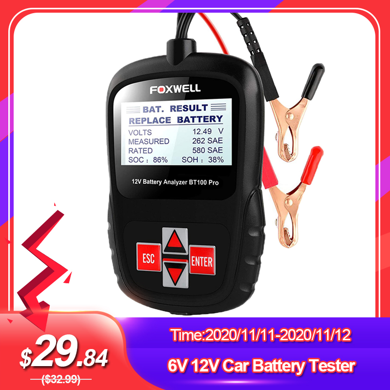 FOXWELL BT100 PRO 6V 12V Car Battery Tester For Flooded AGM GEL 100 to 1100CCA 200AH Battery Health Analyzer Diagnostic Tool