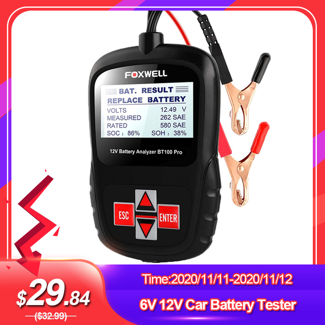 FOXWELL BT100 PRO 6V 12V Car Battery Tester For Flooded AGM GEL 100 to 1100CCA 200AH Battery Health Analyzer Diagnostic Tool