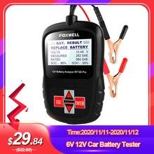 Foxwell bt100 pro 6v 12v testador de bateria de carro para inundado agm gel 100 a 1100cca 200ah analisador de saúde da bateria ferramenta de diagnóstico
