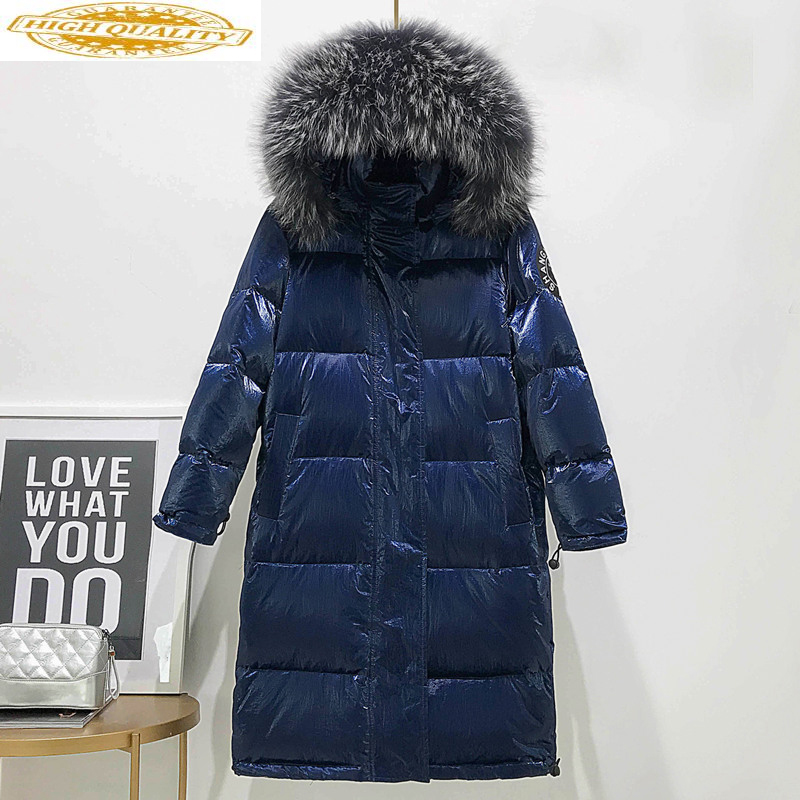 White Duck Down Jacket Women Hooded Winter Coat Long Puffer Jacket Big Raccoon Fur Collar Warm Piumino Donna KJ3722