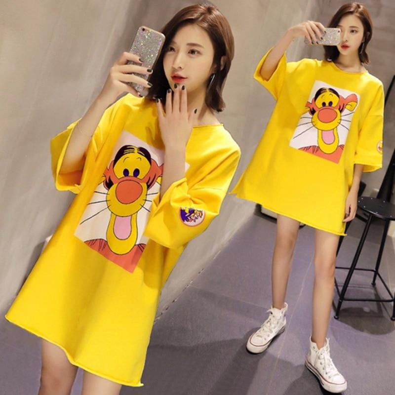 Summer Cartoon Print Women Pajamas Large Size Sweet Loose Nightgown Round Neck Short Sleeve Nightdress Women Home Sleepwear