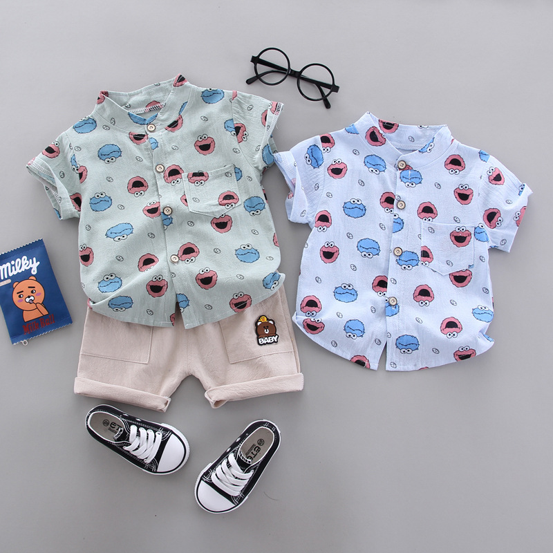 Summer Clothes For Baby Toddler Boys Short Set Cute Printed Shirt + Shorts Child Costume 1 2 3 4 Years Kids Clothes Big Mouth