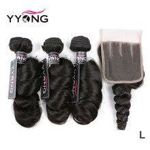 Yyong 髪ペルールーズウェーブ 3 バンドル人間の髪のレースの閉鎖 4*4 レースの閉鎖バンドルナチュラル色の remy 毛