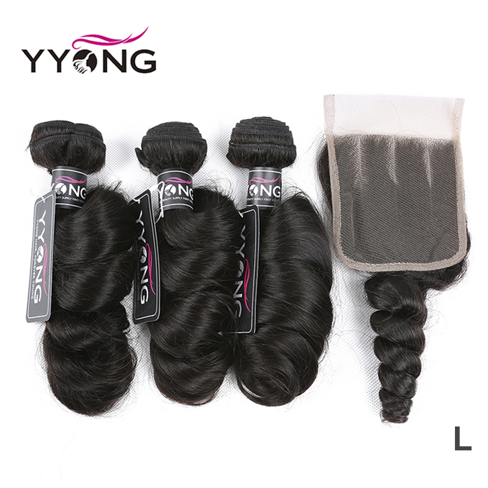 Yyong Hair Peruvian Loose Wave 3 Bundles Human Hair With Lace Closure 4*4 Lace Closure With Bundles Natural Color Remy Hair