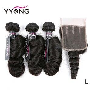 Image 1 - Yyong Hair Peruvian Loose Wave 3 Bundles Human Hair With Lace Closure 4*4 Lace Closure With Bundles Natural Color Remy Hair