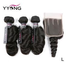 Yyong saç perulu gevşek dalga 3 demetleri ile insan saç dantel kapatma 4*4 dantel kapatma demetleri ile doğal renk Remy saç