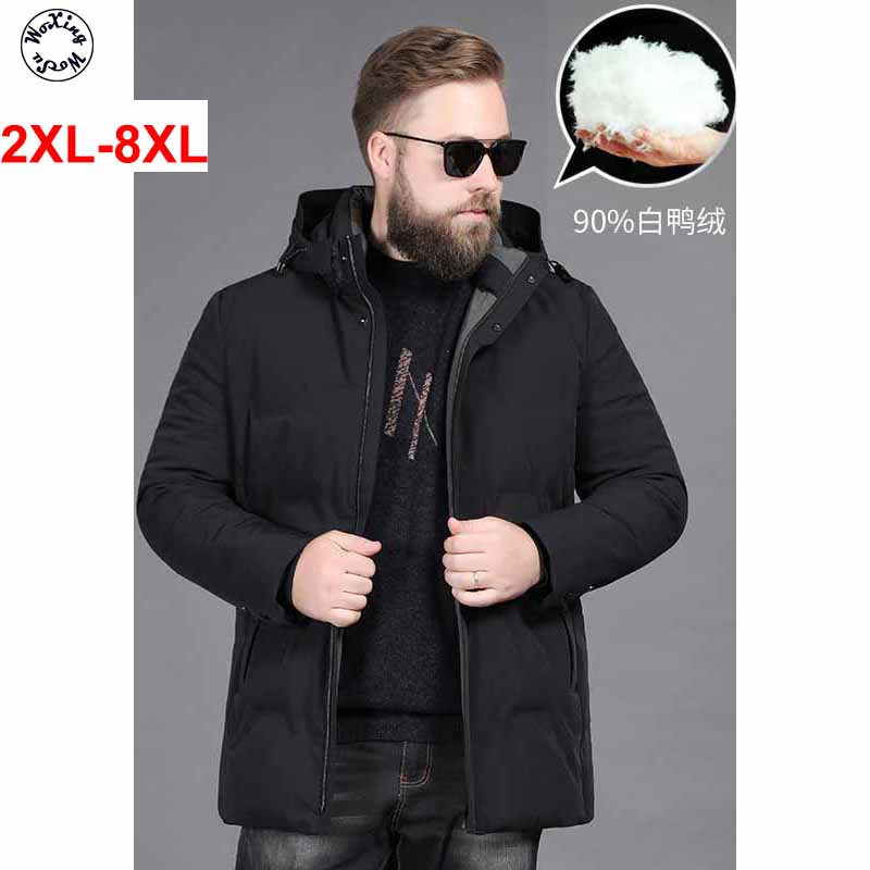 8XL Men's Hooded Parkas Business Fashion Outwear Warm Cotton Padded Jacket Long Cotton Coat Big Yards Size L To 5XL 6XL  7XL 8XL