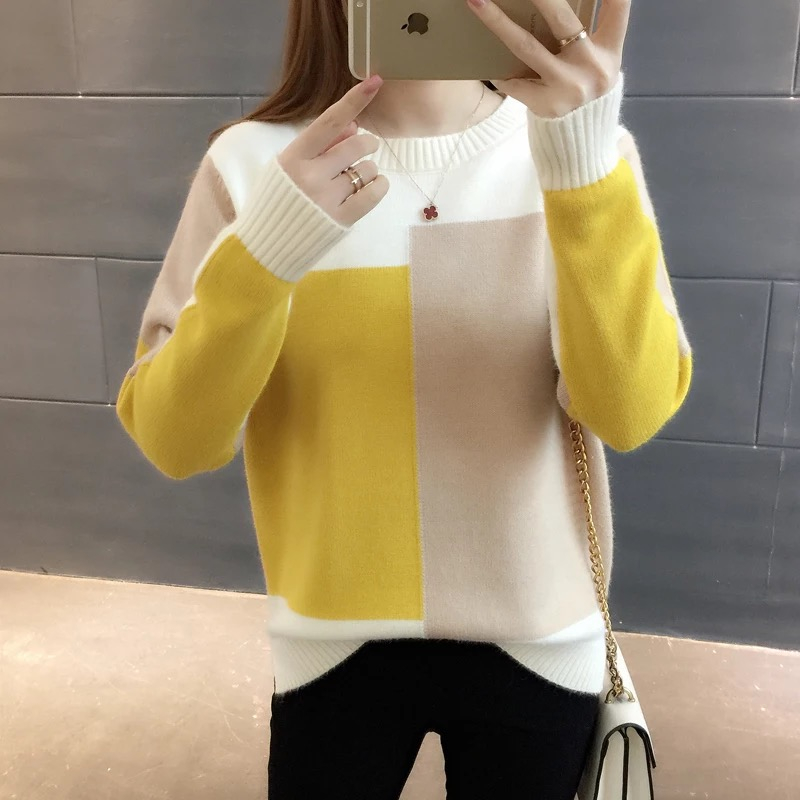 Pullovers Female Knit Long-Sleeve Candy-Color To Upper-Garment Matching Render Unlined
