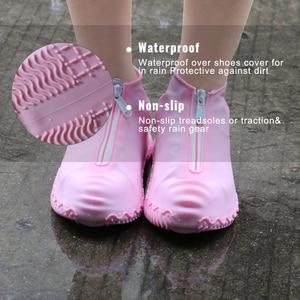 Image 5 - 2020 חדש הגעה רוכסן עמיד למים מכסה נעלי Rainday שלג החלקה גומי נעלי גשם מכסה Platic כיסוי נעליים
