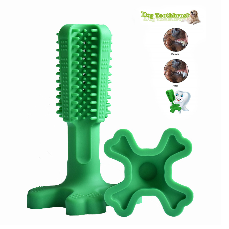 Dog toothbrush prevent bad breath bite-resistant food grade silicone 360 degrees cleaning teeth supplies dog toy molar stick pet image