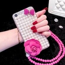 Lüks Glitter inci taklidi elmas kristal yay düğüm çiçek telefon kılıfı için iphone X 11 12 mini Pro MAX XR 6S 7 8 artı kabuk