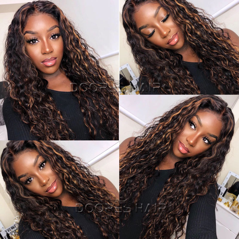 Colored Lace Front Human Hair Wigs for Women 13x6 Ombre Human Hair Wig Highlight Wig Water Wave Lace Front Wig Pre Plucked Remy