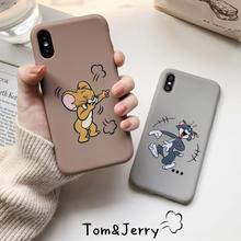 Funny Cartoon Cat and Mouse Phone Case for iPhone X XS Max XR 7 8 6 6s Plus Slim Soft Silicone Cover Cute Tom Jerry Couples