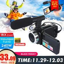 Профессиональная видеокамера 1080P HD, камера ночного видения, 3,0 дюймов, сенсорный ЖК-экран, камера с 18X цифровым зумом, камера с микрофоном