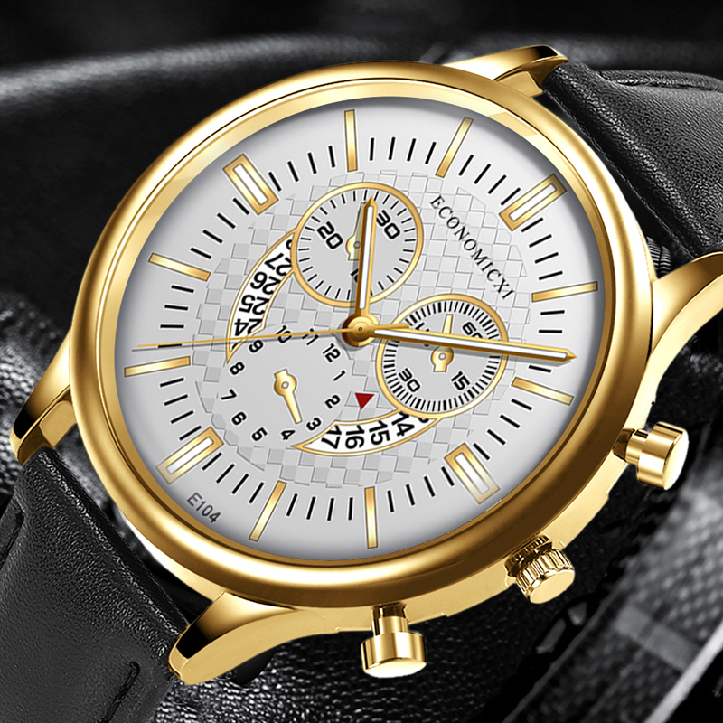 Innovation Men Watches Luxury Gold Dial 2020 Fashion Business Leather Strap WristWatch Man Date Relogio Masculino Clock Gift