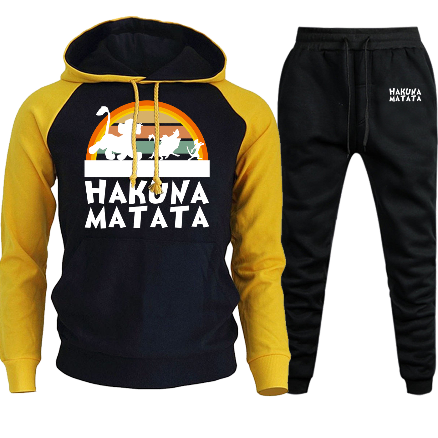 The Lion King Mens Hooded Raglan Autumn Winter Hakuna Matata Cartoon Printed Sweatshirt Suit Pullover Hoodie+Pants 2 Piece Set