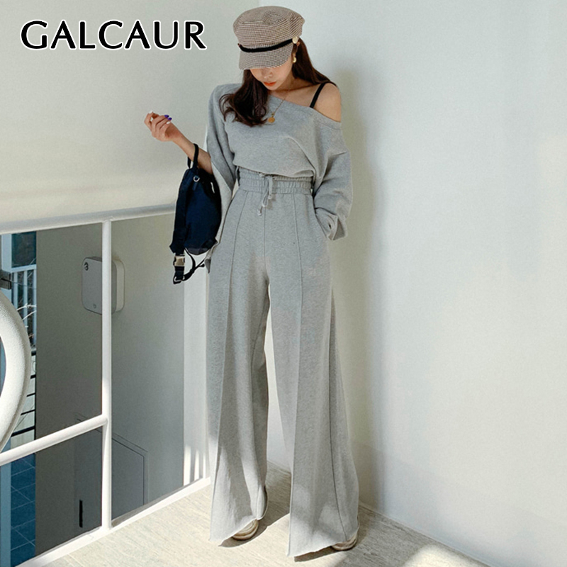 GALCAUR Drawstring Two Piece Set For Women Off Shoulder Asymmetrical Sleeve Flares Korean Women's Sets 2019 Autumn Fashion New
