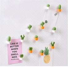 Fridge magnet 2019top 6pcs Cute Succulent Plant Magnet Button Cactus Refrigerator Message Sticker Magn magnesy na lodowke FB