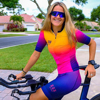 Tres pinas das mulheres verão manga curta jérsei define 20d gel almofada bib shorts trajes mujer ciclismo wear feminino bycicle wear 16