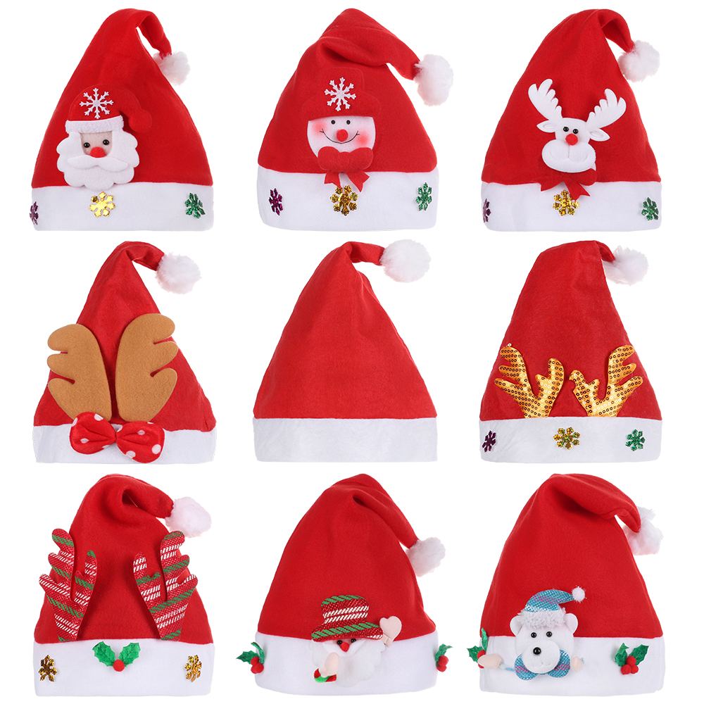 2020 New Year Merry Christmas Hat For Kids Xmas Santa Claus/Deer/Snowman Cap Christmas Children Party Props