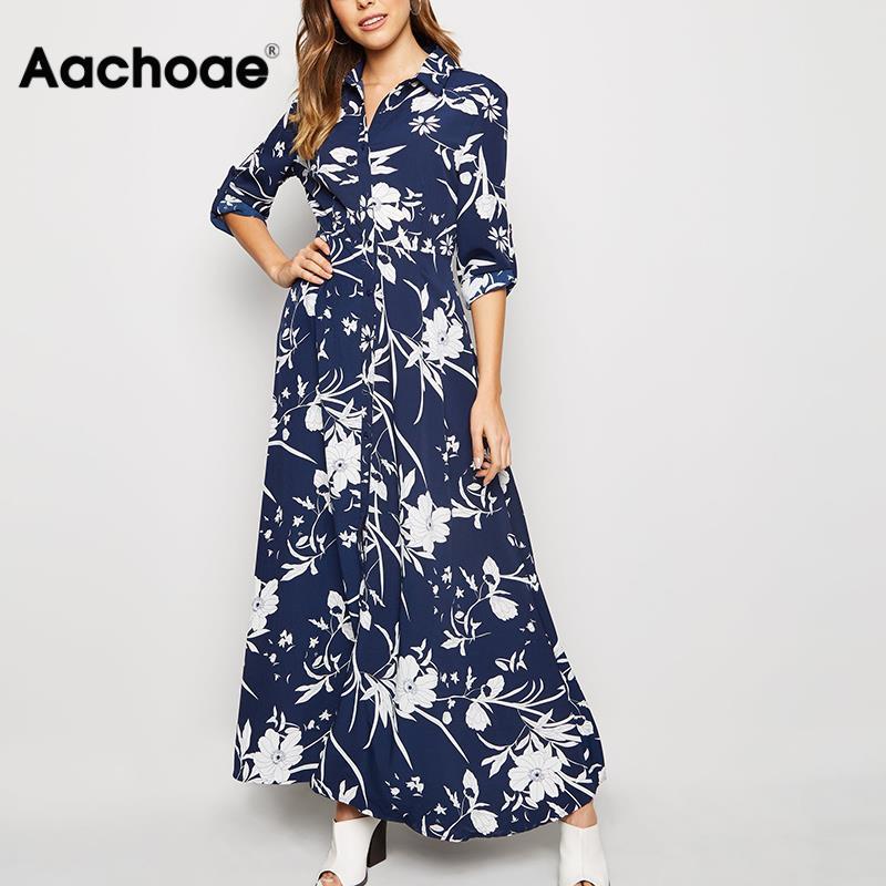 Aachoae 2020 Floral Print Long Women Dress Vintage Loose Female Buttons Shirt Dress Turn Down Collar Ladies Office Split Dresses