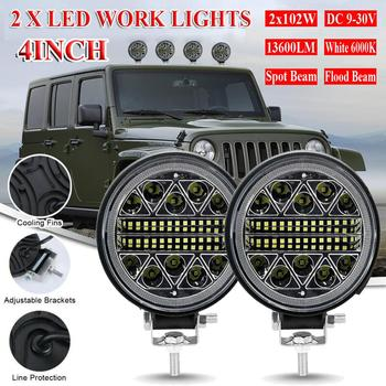цена на 2Pcs Round LED Work Lights Off Road Spotlight 102W 12V/24V 13600LM LED Car Light Bright Beam For SUV ATV Truck Motorcycle Light