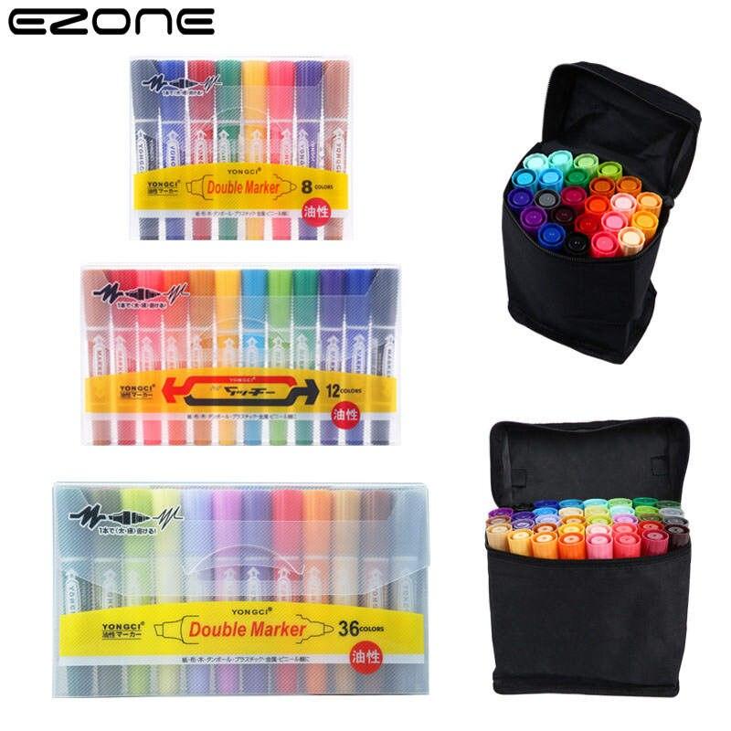 EZONE 8/12/18/24/36 Colors Large Head Pen Ink Oily Marker Pen Color Double-headed Marker Pen Set Art Supplies