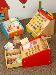 Playing-Toy Cash-Register Money Kids Simulation Pretend with Gift Wooden Baby Children