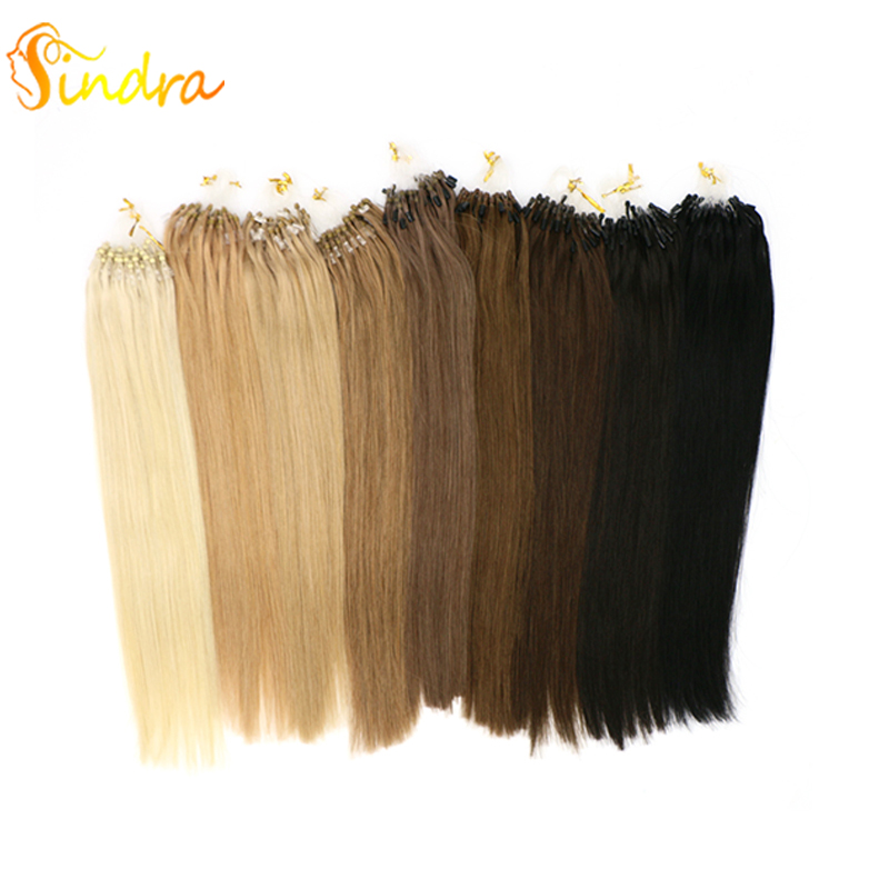 Sindra Micro Link Hair Extensions For Natural Hair 60 Light Color 14-24 Inch Micro Ring Human Hair Extensions 1g/Piece