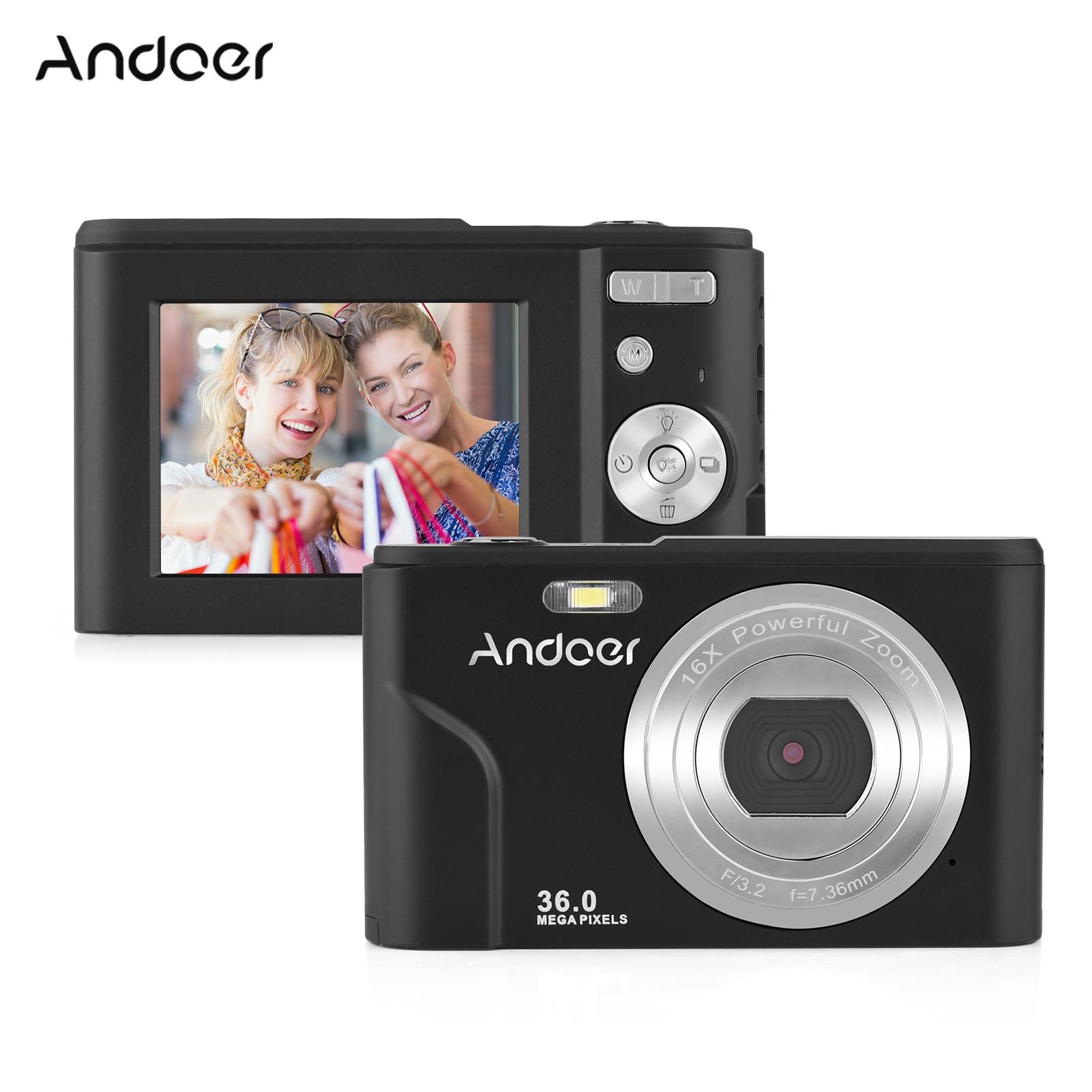 Andoer-cámara Digital 1080P con 2 uds. De batería integrada, detección facial Anti-vibración, montaje 1/4 con correa de mano, bolsa de transporte