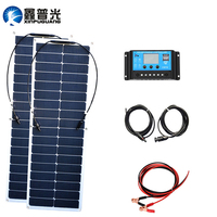 100w Flexible Solar Panel System 2pcs 50w Solar Module PWM 12v 24v 10A Controller PV Connector for Battery Outdoor RV Yacht