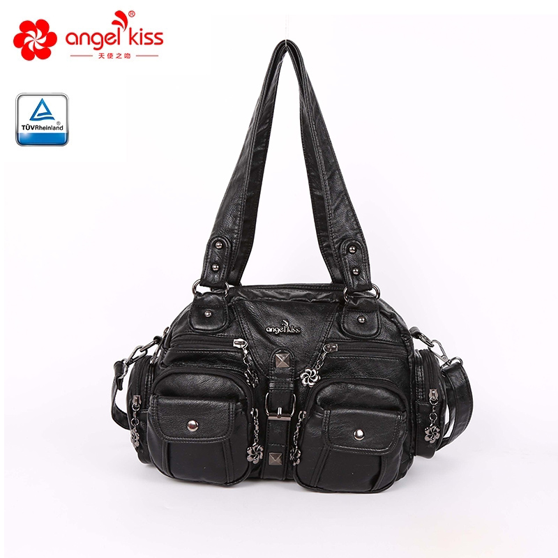 Hot Selling Large Double Zipper Multi Pocket Shoulder Bags Washed PU Leather Purses Tote Bags Women Handbags For Ladies