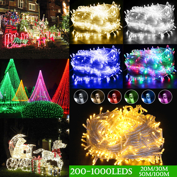 20M 30M 50M 100M Christmas LED String Light 220V EU/AU/UK Plug Connectable with Tail Plug 200/300/500/1000 LEDS Waterproof D35 us plug eu plug 20m 200leds outdoor waterproof led string light connectable with tail plug wedding christmas party holiday d30