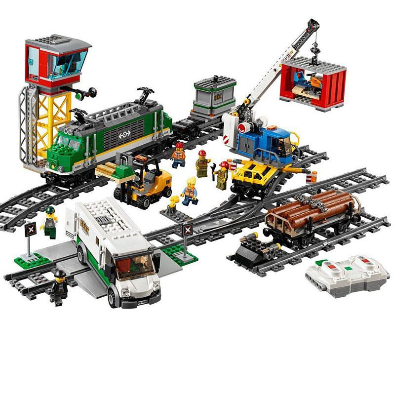 Legoinglys Remote Control Passenger Train 02118 Building Blocks Brick Toy Compatible With Legoinglys 60198 City Cargo Train