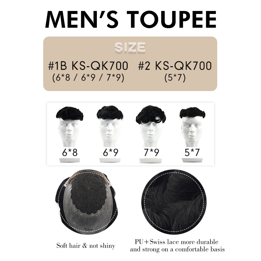 K.S WIGS Durable Hairpieces Swiss Lace Thin PU Toupee For Men Replacement System 100% Remy Human Hair Natural Looking