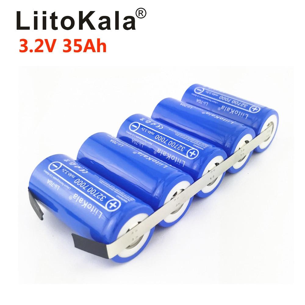 Перезаряжаемый Lifepo4 аккумулятор LiitoKala, 3,2 в, 32700 а/ч, 21 а/ч, 28 а/ч, 35 А/ч, для электровелосипедов «сделай сам» с высоким потоком энергии, 25 А/ч, 70 А