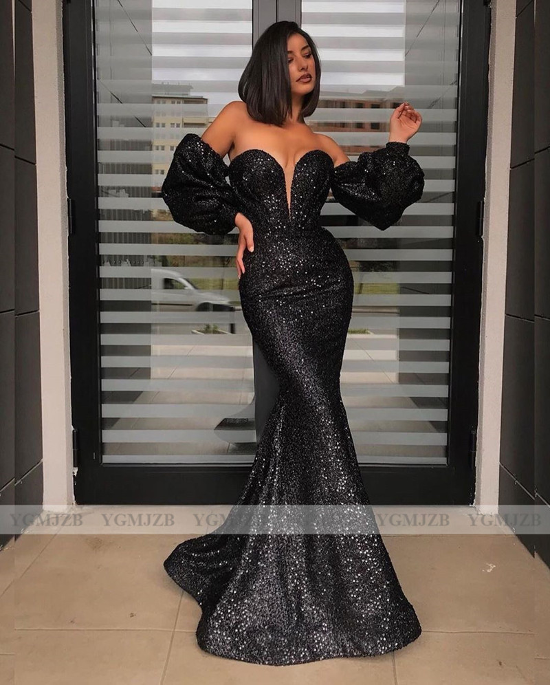 sexy black long sleeves evening dresses sequin 2020 sweetheart arabic dubai  long mermaid party dress abendkleider robe de soiree