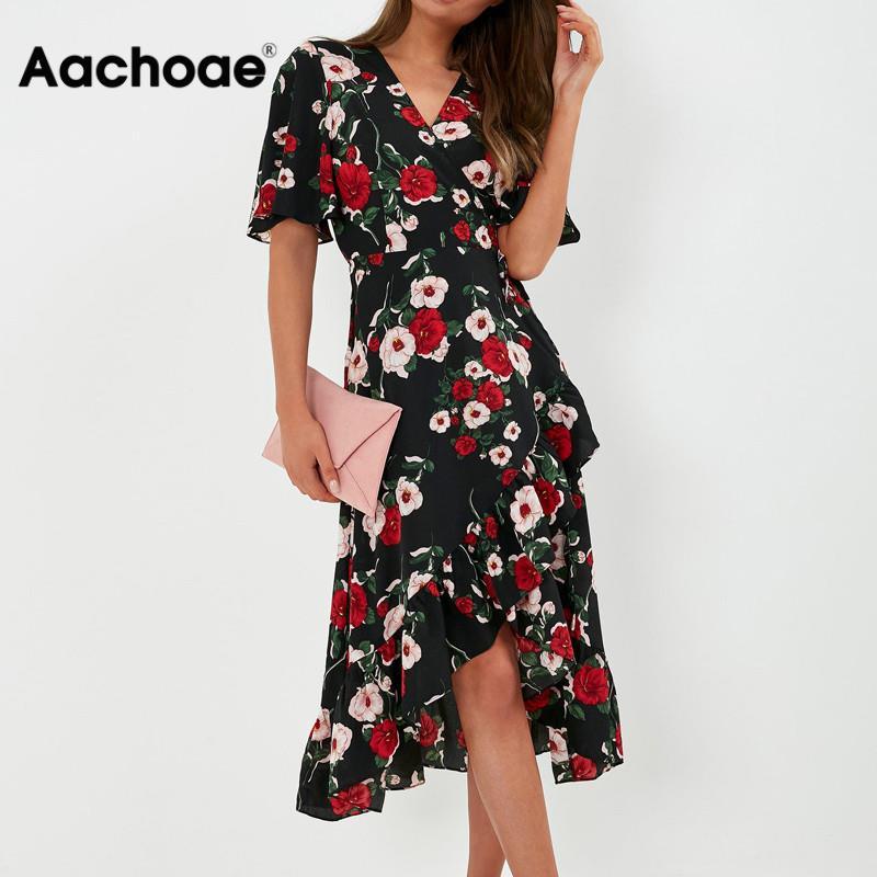 Bohemian Floral Print Dress Women Summer Ruffle Short Sleeve Wrap Beach Dress V Neck Long Elegant Party Dress Vestidos Mujer