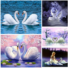 Frameless Swan Animals DIY Painting By Numbers Wall Art Picture Acrylic Canvas Painting For Wedding Decoration Drop Shipping блуза by swan by swan by004ewtlp79