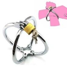 Stainless Steel Cross Handcuffs with Lock Key BDSM Metal Lockable Cross Wrist Restraints Cuffs Slave Bondage Adult Game недорого