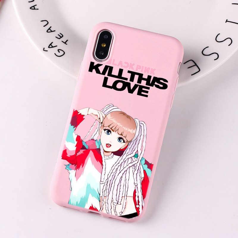 น่ารักสีดำสีชมพูโทรศัพท์กรณีฆ่าความรัก Jennie Blackpink เกาหลีสีชมพูร้อนสำหรับ iPhone X XS MAX XR 8 7 6 6S Plus Funda