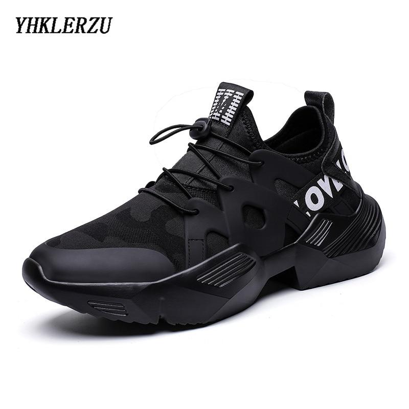 YHKLERZU Sneakers Men Vulcanized-Shoes Anti-Slip Black White Upper Lycra Zapatillas Trendy